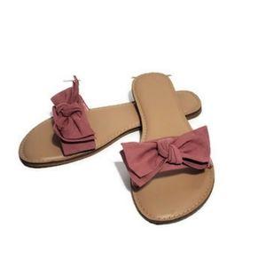 Time & True Mauve Bow Sandals